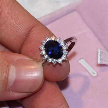 Luxury Jewelry Bridal Wedding ring for Women Princess Diana Real 925 Sterling Silver Cushion cut natural CZ Rings finger