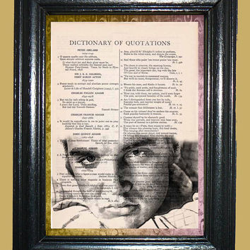 Elvis Presley Art - Vintage Dictionary Page Art Print Upcycled Book Page Art Collage Art Print