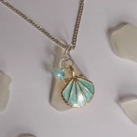 Sea Glass Necklace with Aqua Enamel Shell