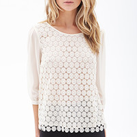 FOREVER 21 Daisy Crochet Blouse Cream