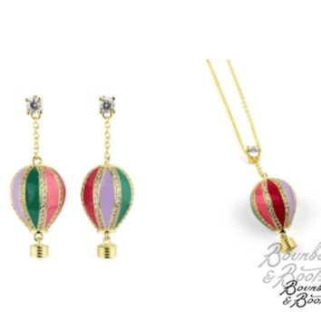 Hot Air Balloon Earring & Necklace Set