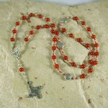 Brigid Prayer Bead Necklace in Carnelian: Irish Celtic Goddess of Poetry, Crafts, Healing