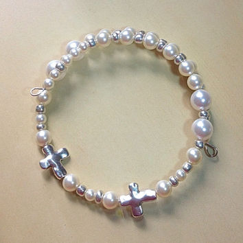 Memorial Cross Charm Bracelet-Wedding-Bridal Bracelet-Awareness-Friendship-Swavorski White Pearls-Tube Noodle Bead-Charms-Cross-Heart