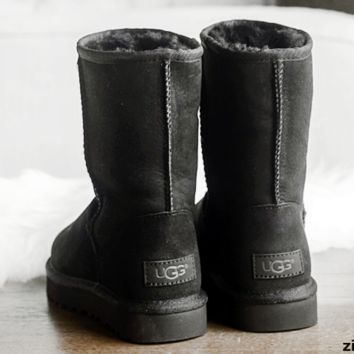 UGG Short boots antiskid warm lazy sheep fur simple ugg boots canister boots (5-color) Black