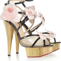 Charlotte Olympia|Botanica orchid-embellished patent-leather sandals|NET-A-PORTER.COM