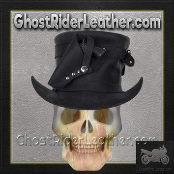 Black Leather Deadman Top Hat with Gun Holsters / SKU GRL-HAT7-11-DL