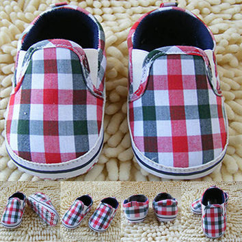 Boy Kids Slip-On Plaid Toddler Shoes Soft Sole Crib Shoes Infant Baby Prewalkers NW