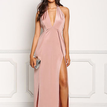 Mauve High Slit Halter Maxi Dress