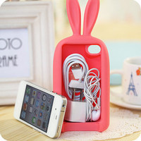 [grhmf2100024]3D rabbit storage headphone cable Case For Iphone 4/4S/5 from FancyBest
