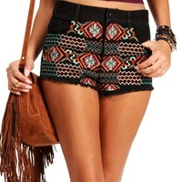 Black High Waisted Tribal Short