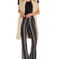 Black Combo Tribal Print Flare Pants by Charlotte Russe