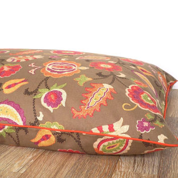 Flower dog duvet cover fall colors, large dog bed case gift idea dog lovers, big dog bed case floral decor, brown pet bedding fall flowers