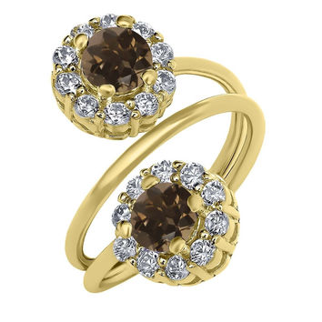1.52 Ct Round Brown Smoky Quartz 18K Yellow Gold Plated Silver Ring