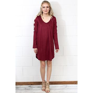 Cut Out Ladder Sleeved Suede Dress {Burgundy}