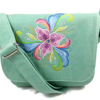 Embroidered Crossbody Purse, Handbag in Limited Sea Glass color