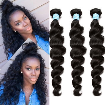 8A Brazilian Virgin Hair Loose Wave 3 Brazilian Hair Weave Bundles Honey Queen Hair Products Curly Weave Human Hair Extensions