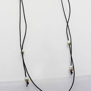 Black Faux Leather Cord Pearl Necklace