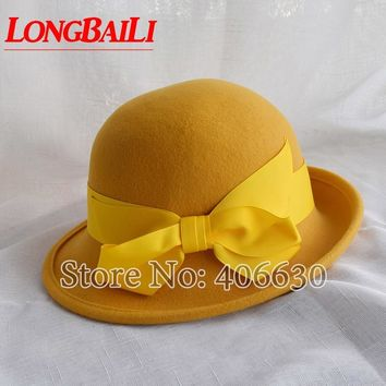 Winter Yellow Wool Felt Bucket Hats Women Bowler Caps Female Derby Chapeau Fedoras Free Shipping PWFR016