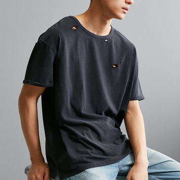 Destroyed Slouch Fit Tee | Urban Outfitters