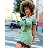 GUCCI Summer Sexy Women Short Sleeve Sleeve Print Dress