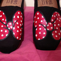 Minnie Mouse Bow Hand painted slipon by CUteSTOMizingbyDyana