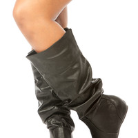 Black Faux Leather Knee High Slouch Wedge Boots