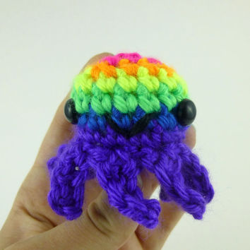 Neon Rainbow Striped Baby Octopus - Purple Base - Made to Order - Amigurumi Crochet Plushie