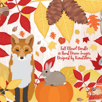 Fall Clipart Autumn Harvest Scrapbook, Woodland Animals Clipart Fall Leaves, Acorn, Mushroom, Pinecone, Owl, Chipmunk, Fox, Squirrel, Rabbit