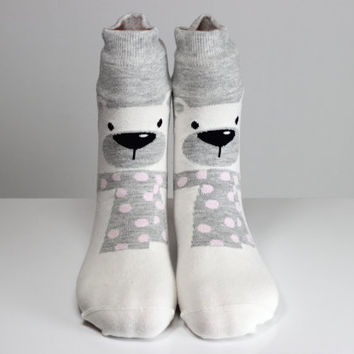 Polar Bear Sock Pink Polka Dots Gray Socks Teddy Bear Sock Women Girls Socks Women Socks Funny Socks Ankle Socks Animal Socks Cute Fun Socks