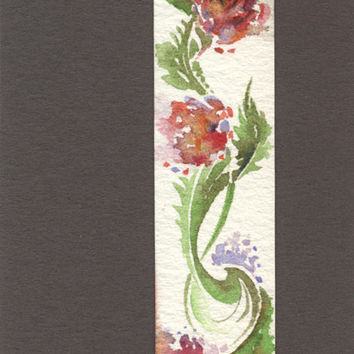 "Artist Trading Card, ACEO Original watercolor painting ""Flower Ornament"", paper"