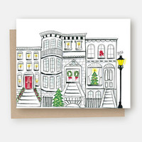 Holiday Brownstone Scene - A2 Note Card