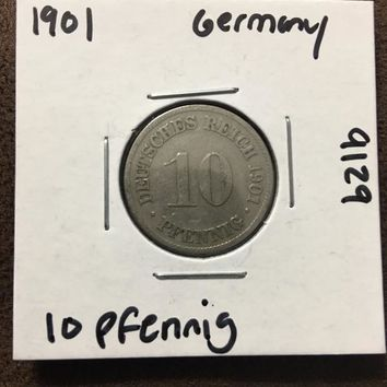 1901 German Empire 10 Pfennig Coin 9129