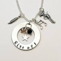 Rise Up Alexander Hamilton the Musical Inspired Lyrics Hand Stamped Dangle Suspended Charm Necklace