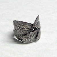 Silver Leafs of the Forest Ring by ranaway on Etsy