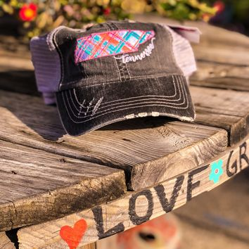 Distressed Colorful Plaid Tennessee Hat