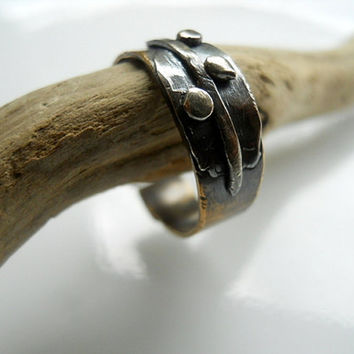 Relic Leaf Ring Sterling Silver and Aged Brass by patinaware