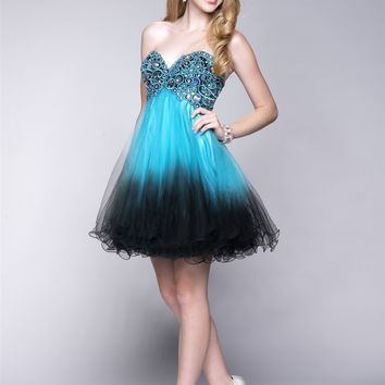 Epic Prom 3601 Strapless Sweetheart Ombre Tulle Dress