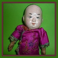 """Old Chinese Boy Doll Papier Mache and Composition -8"""" Tall (item #1295589)"""