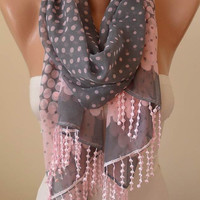 New - Gift -  Light Pink and Gray - Silk/Chiffon Scarf with Pink Trim Edge