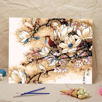Frameless diy oil painting Magnolia flower bird acrylic paint wall painting tower from the digital unique Home Decoration gifts