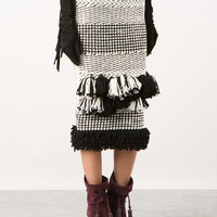 LANVIN TWO-TONE WOOL AND SILK KNITTED SKIRT