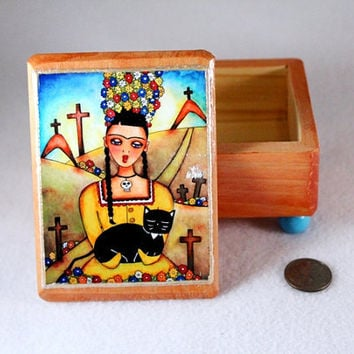Frida and Cat Art Jewelry Box, Day of the Dead Wood Box, OOAK Decoupaged Mexican Art Trinket Box Ring Earring Holder Yellow Brown Blue