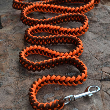 Paracord Leash, Clip Leash, Orange and Brown Leash