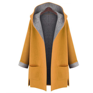 2016 Autumn Woman's Dust Coat Ladies Cardigan all-match Fashion Windproof Coat Female trench coat woollen 50
