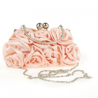 Rosette Clutch Bag Evening Pink Flower Purse Handbag 4327# - Free Shipping