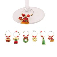 1Set Christmas Wine Glass Decoration Charms Party New Year Cup ring Table Decorations Xmas Pendants Metal Ring Decor 171122