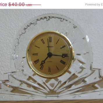 On Sale Gorgeous Vintage Staiger Crystal Glass Quartz Mantel, Desk, or Shelf Clock Made in Germany