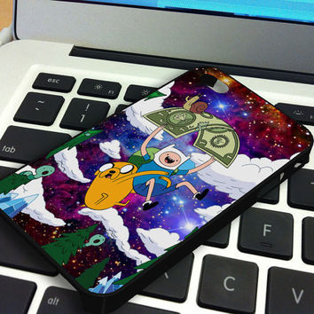 Galaxy Nebula Finn and Jake 5 iPhone 5 iPhone 4 / 4S Plastic Hard Case Soft Rubber Case