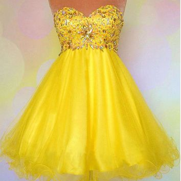 [65.99] Lovely Tulle & Satin Sweetheart Neckline A-Line Homecoming Dresses - Dressilyme.net