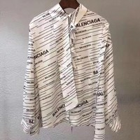 balenciaga Fashion Women Long Sleeved Lapel Shirt Top